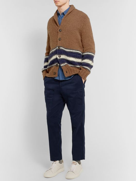 Brunello Cucinelli Shawl-Collar Striped Alpaca-Blend Cardigan