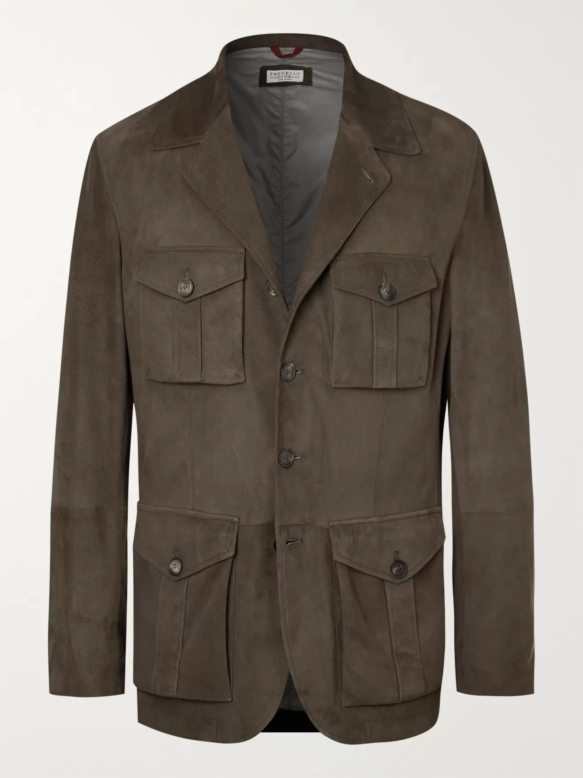 Brunello Cucinelli Slim-Fit Suede Field Jacket