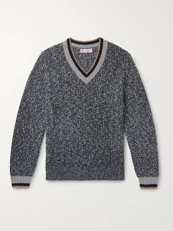 Brunello Cucinelli Slim-Fit Stripe-Trimmed Mélange Wool and Cashmere-Blend Sweater