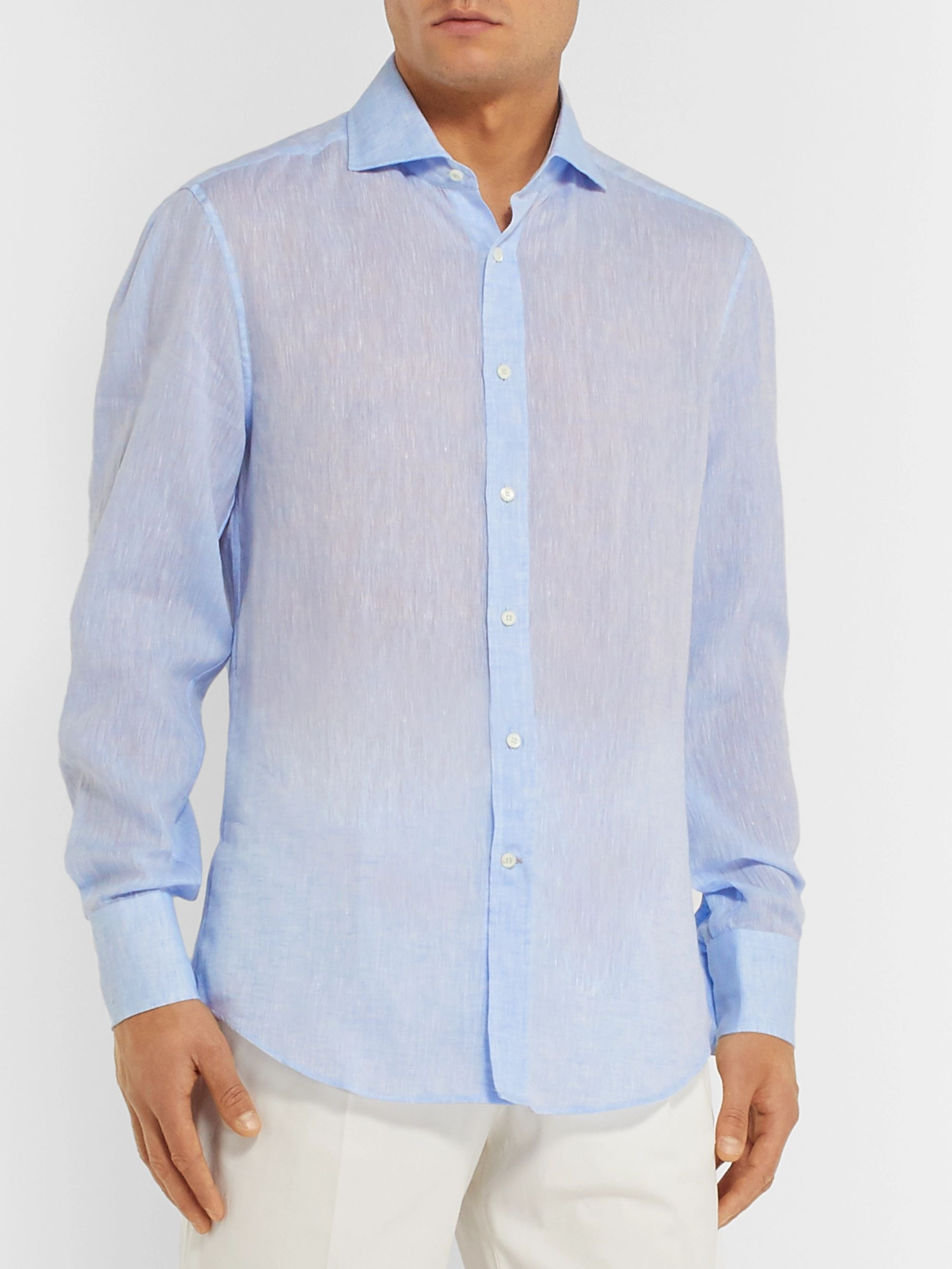 Brunello Cucinelli Slim-Fit Cutaway-Collar Mélange Linen Shirt