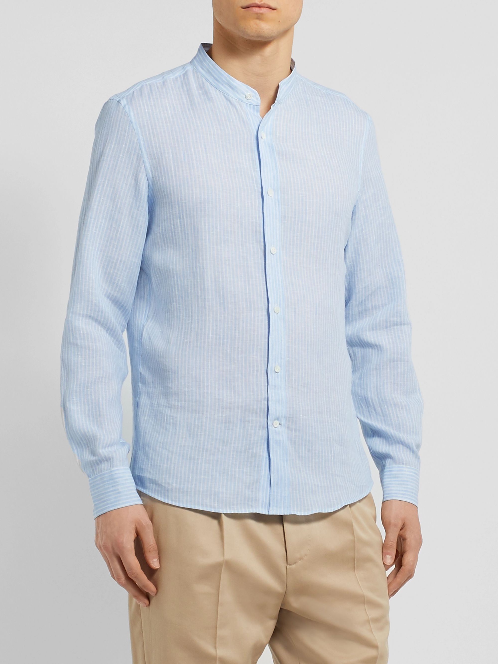Brunello Cucinelli Grandad-Collar Striped Linen Shirt