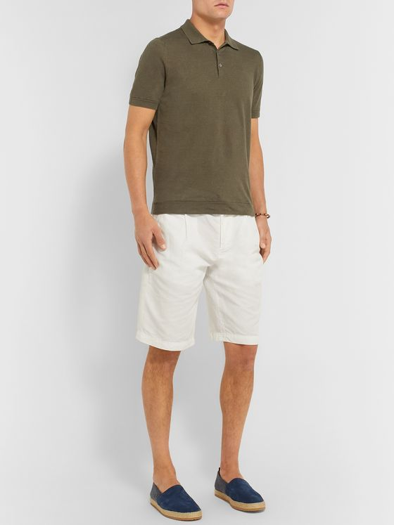 Brunello Cucinelli Slim-Fit Cotton and Linen-Blend Polo Shirt