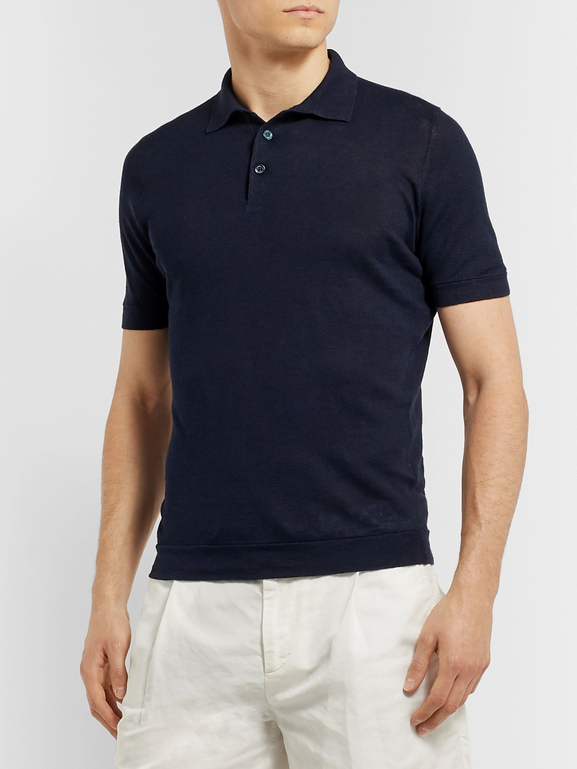 Brunello Cucinelli Slim-Fit Linen and Cotton-Blend Polo Shirt