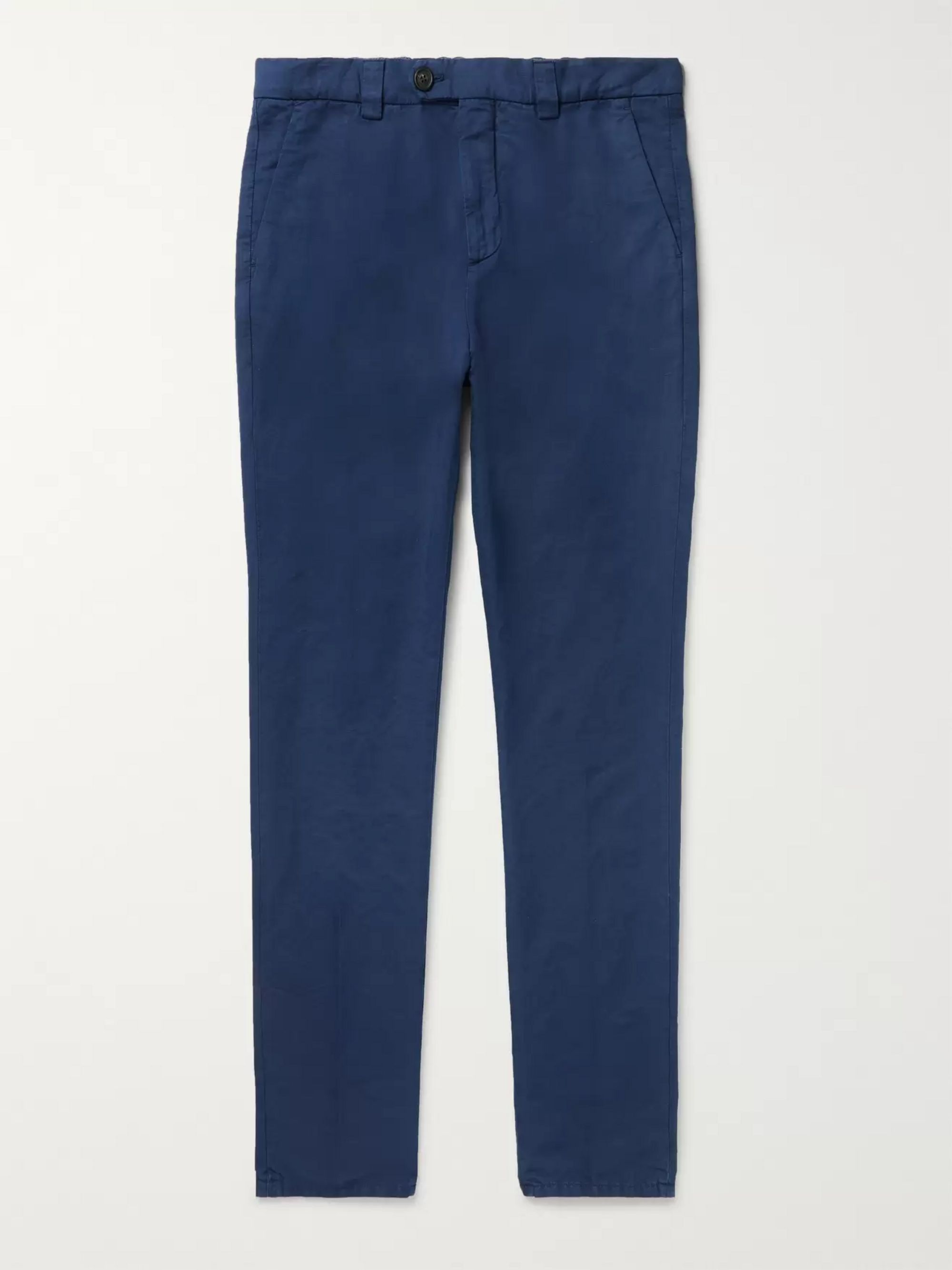 Brunello Cucinelli Navy Tapered Linen and Cotton-Blend Trousers