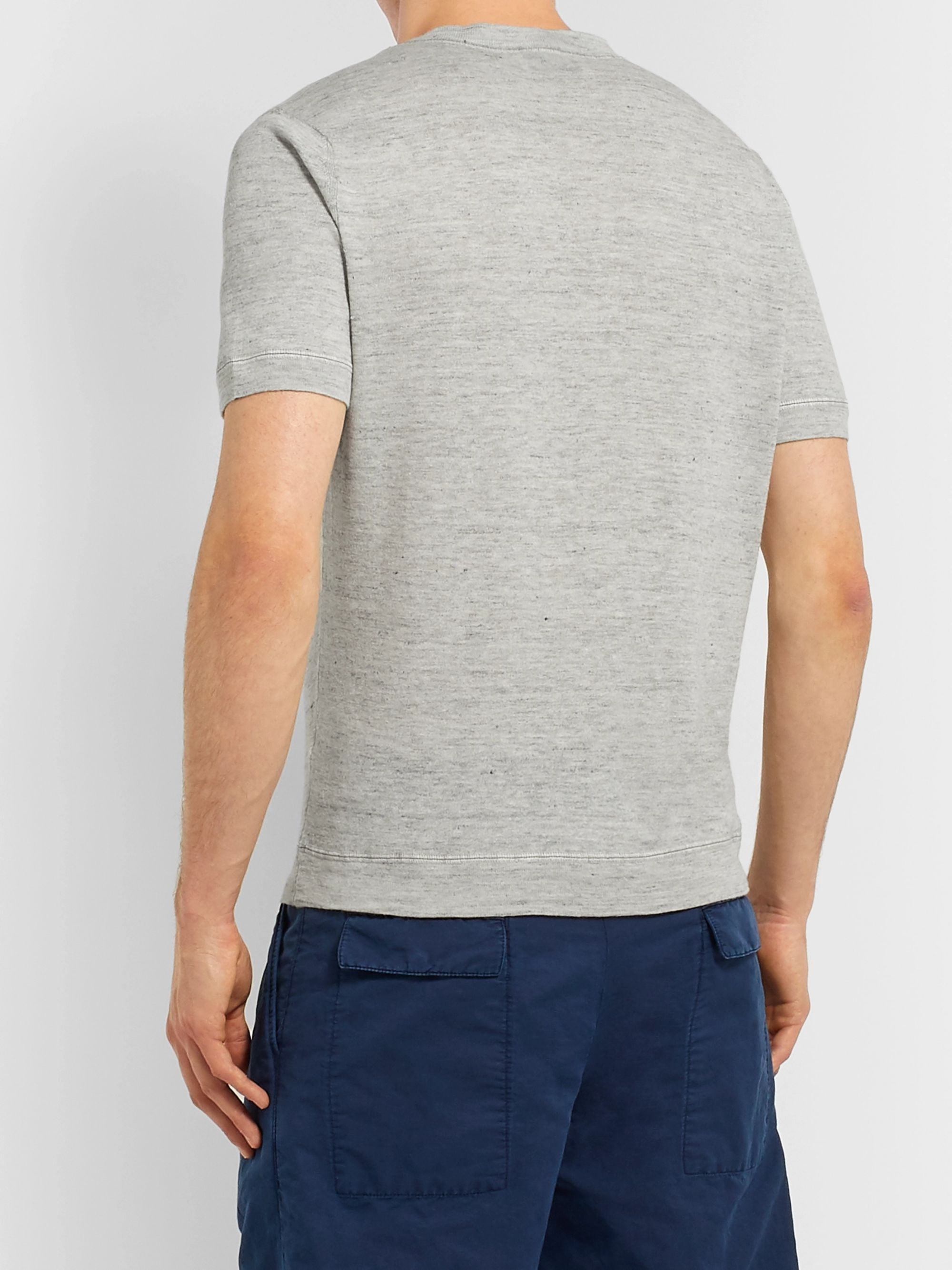Brunello Cucinelli Slim-Fit Mélange Slub Linen and Cotton-Blend T-Shirt