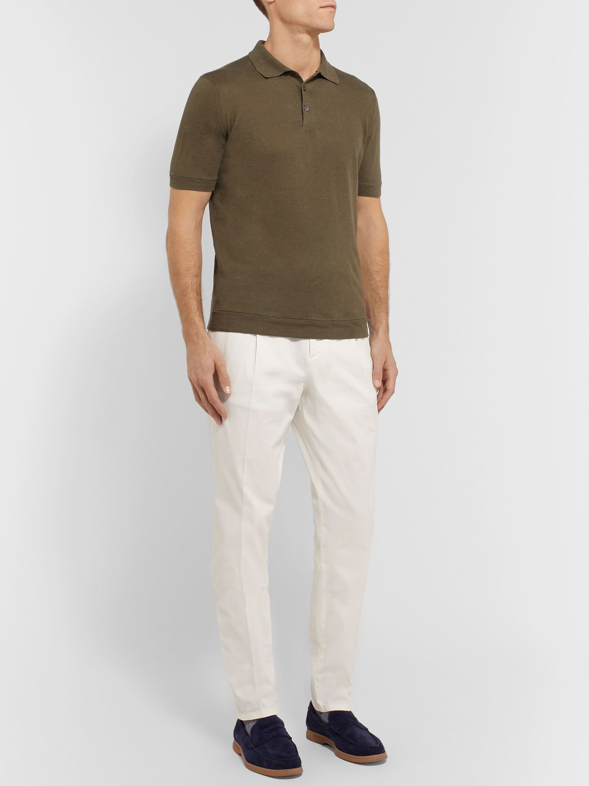 Brunello Cucinelli Tapered Cotton-Blend Twill Trousers