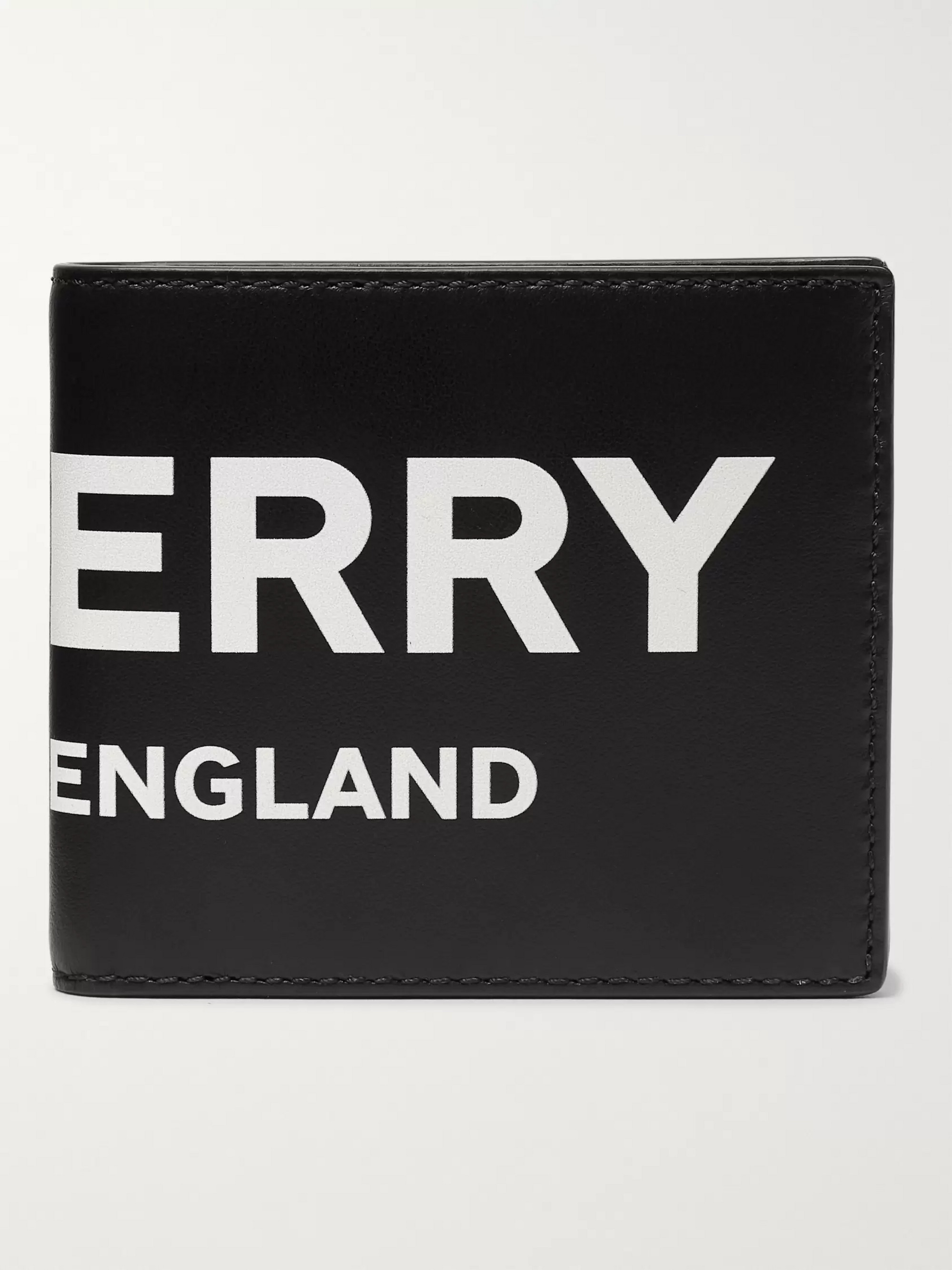 Burberry Logo-Print Leather Billfold Wallet