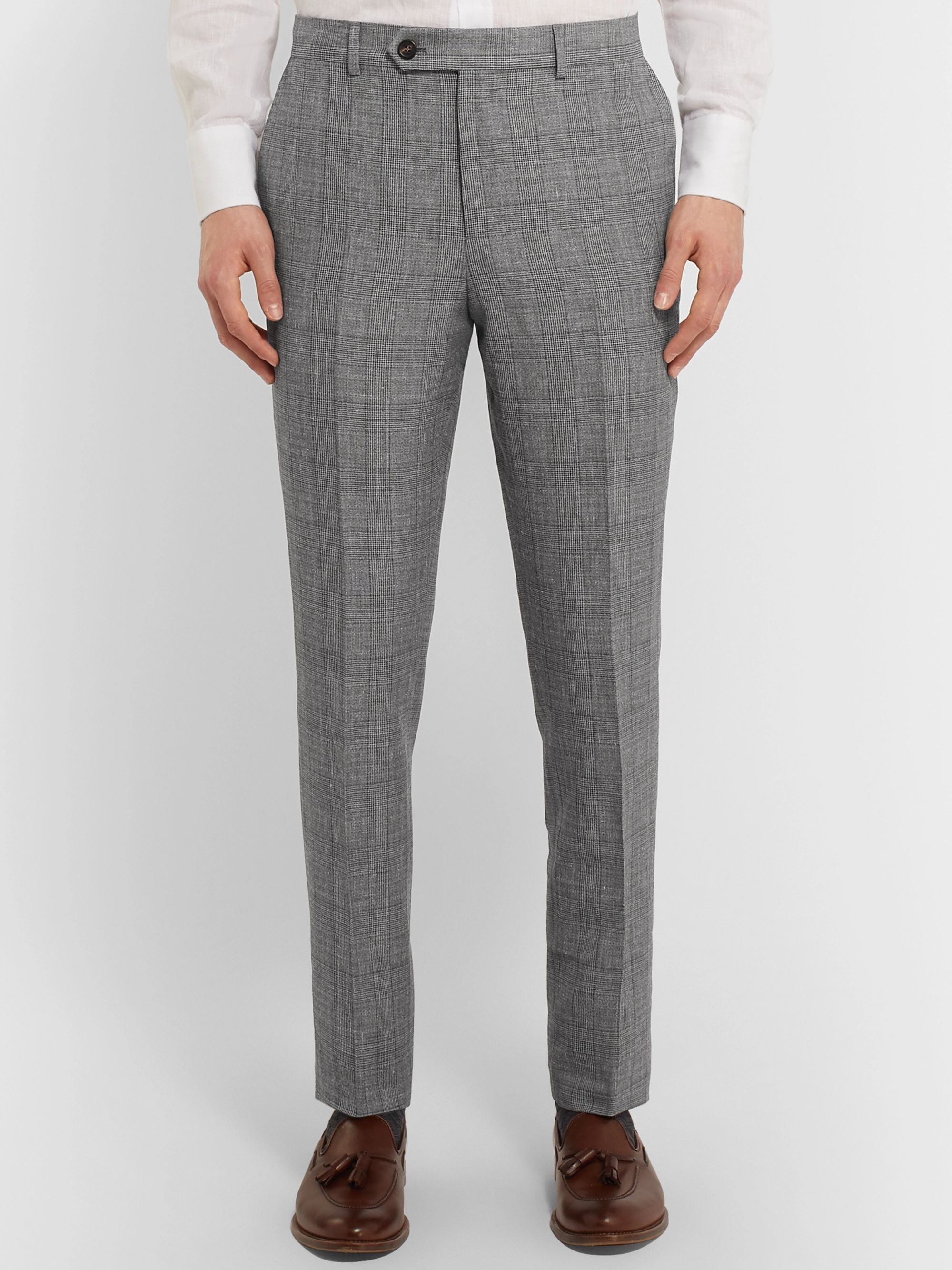 Brunello Cucinelli Grey Slim-Fit Prince of Wales Checked Wool, Linen and Silk-Blend Trousers