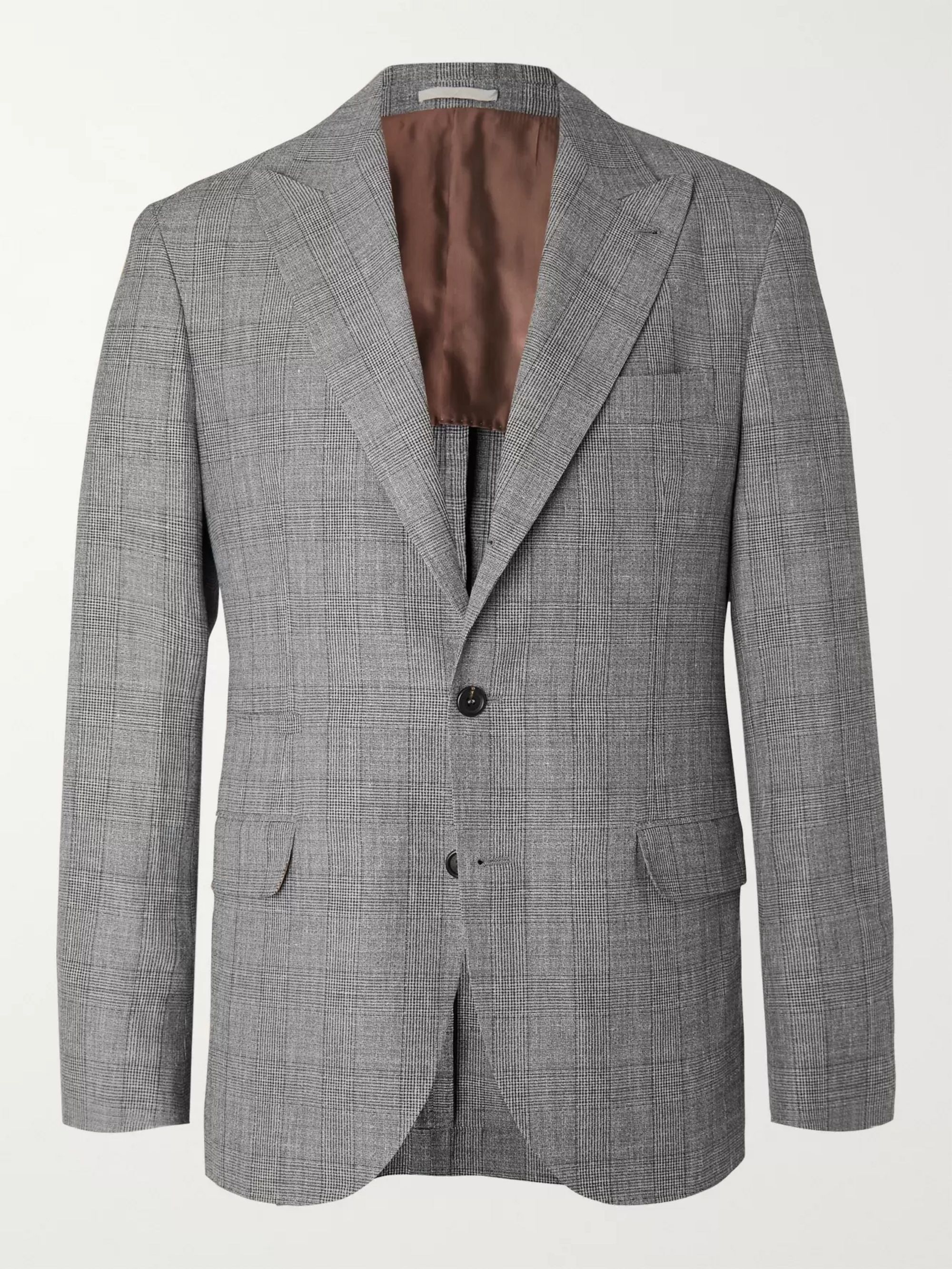 Brunello Cucinelli Grey Prince of Wales Checked Wool, Linen and Silk-Blend Suit Jacket