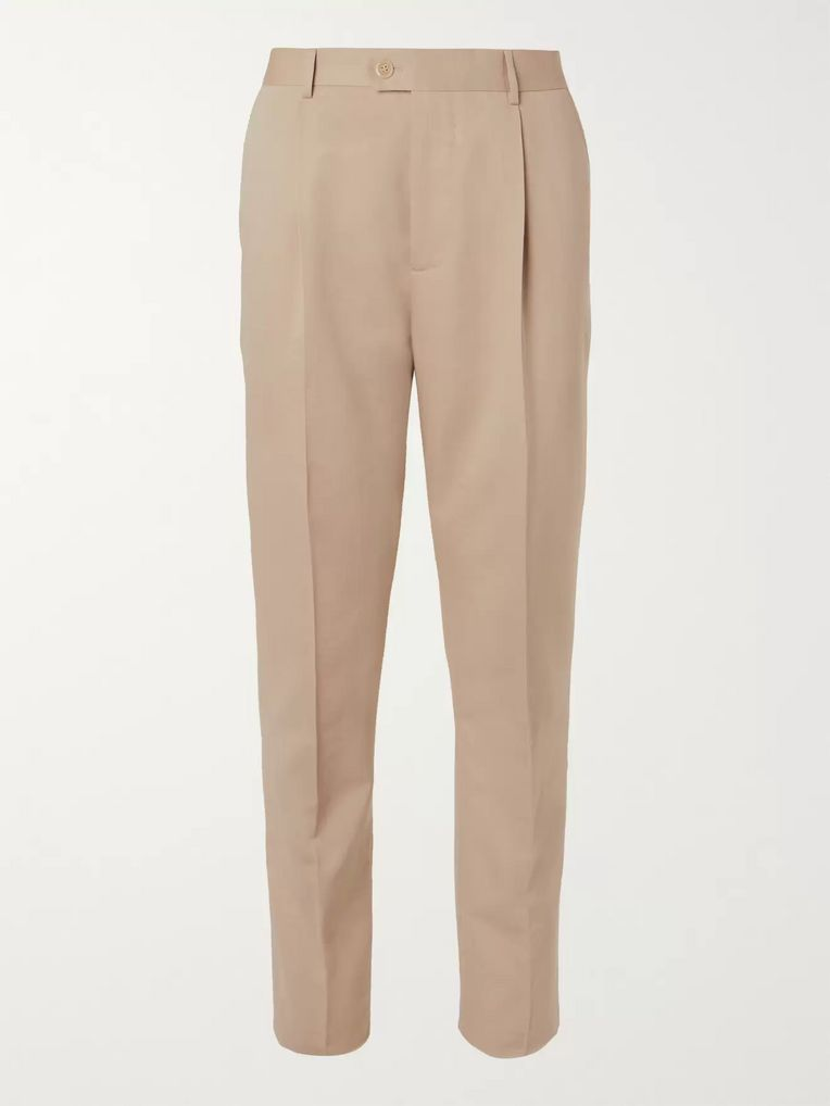 Brunello Cucinelli Beige Slim-Fit Wool and Cotton-Blend Suit Trousers