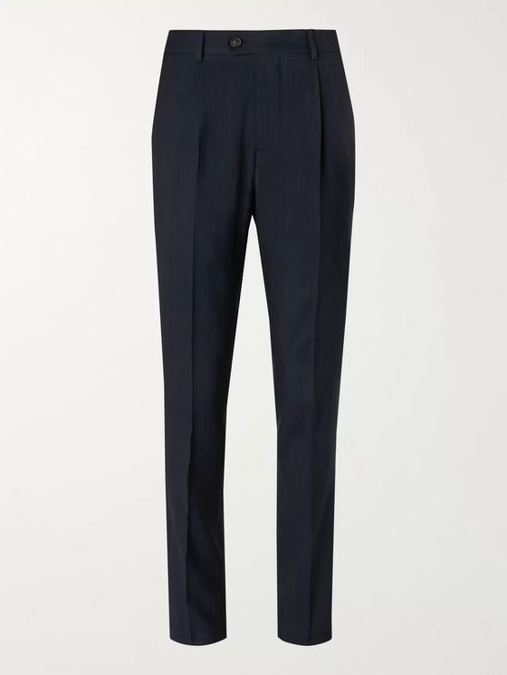 Brunello Cucinelli Navy Slim-Fit Pinstriped Wool, Linen and Silk-Blend Suit Trousers