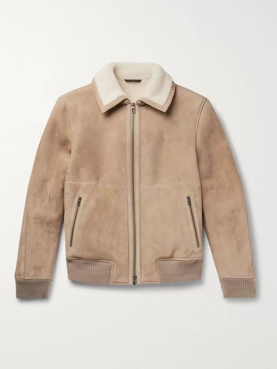 Loro Piana Cashmere-Trimmed Shearling Bomber Jacket