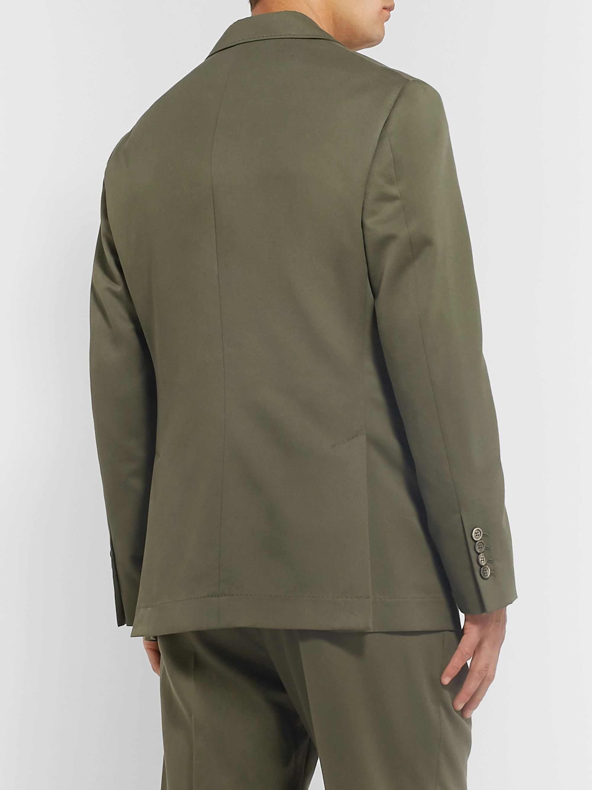 Brunello Cucinelli Army-Green Wool and Cotton-Blend Twill Suit Jacket