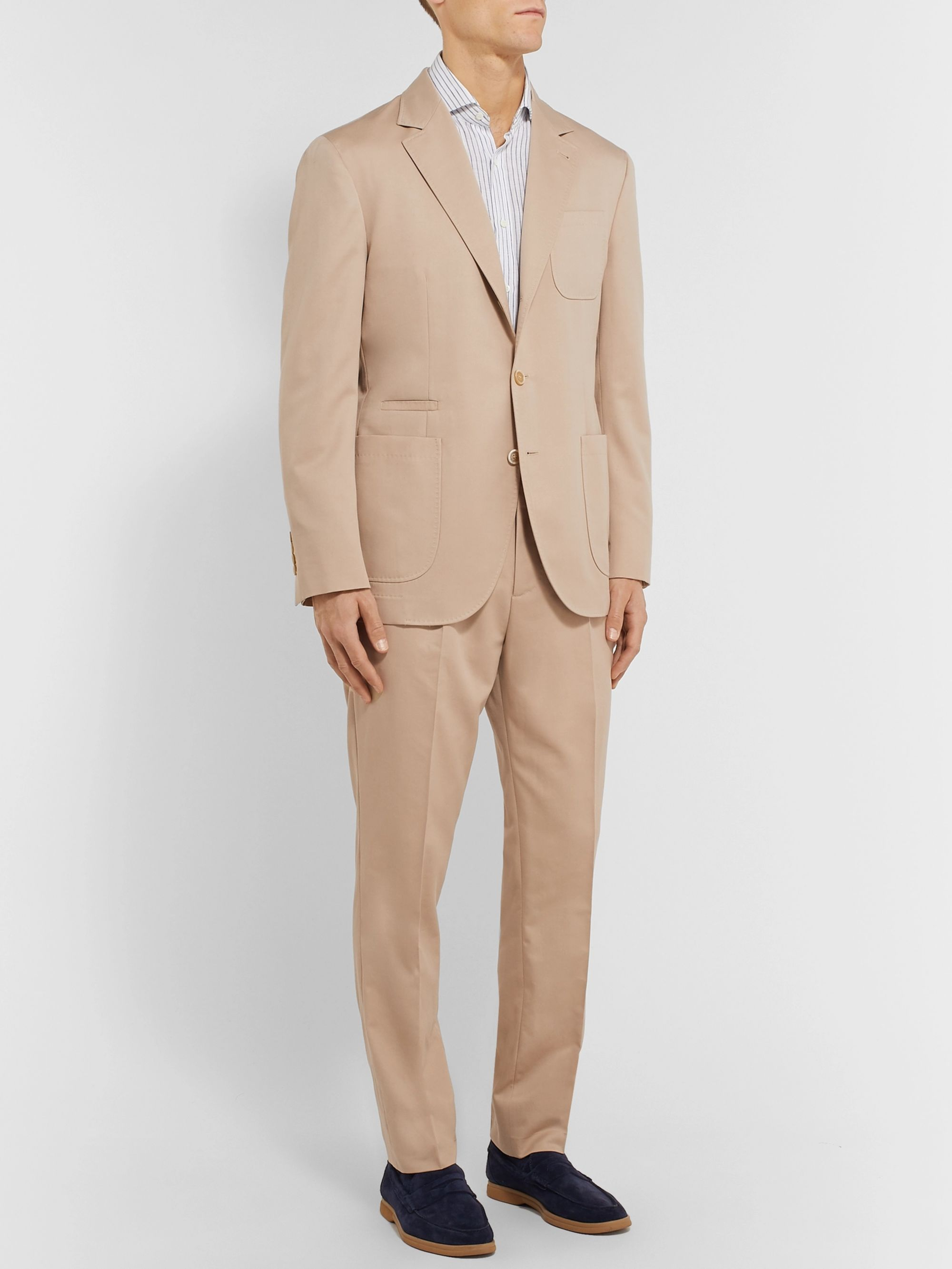 Brunello Cucinelli Beige Wool and Cotton-Blend Suit Jacket