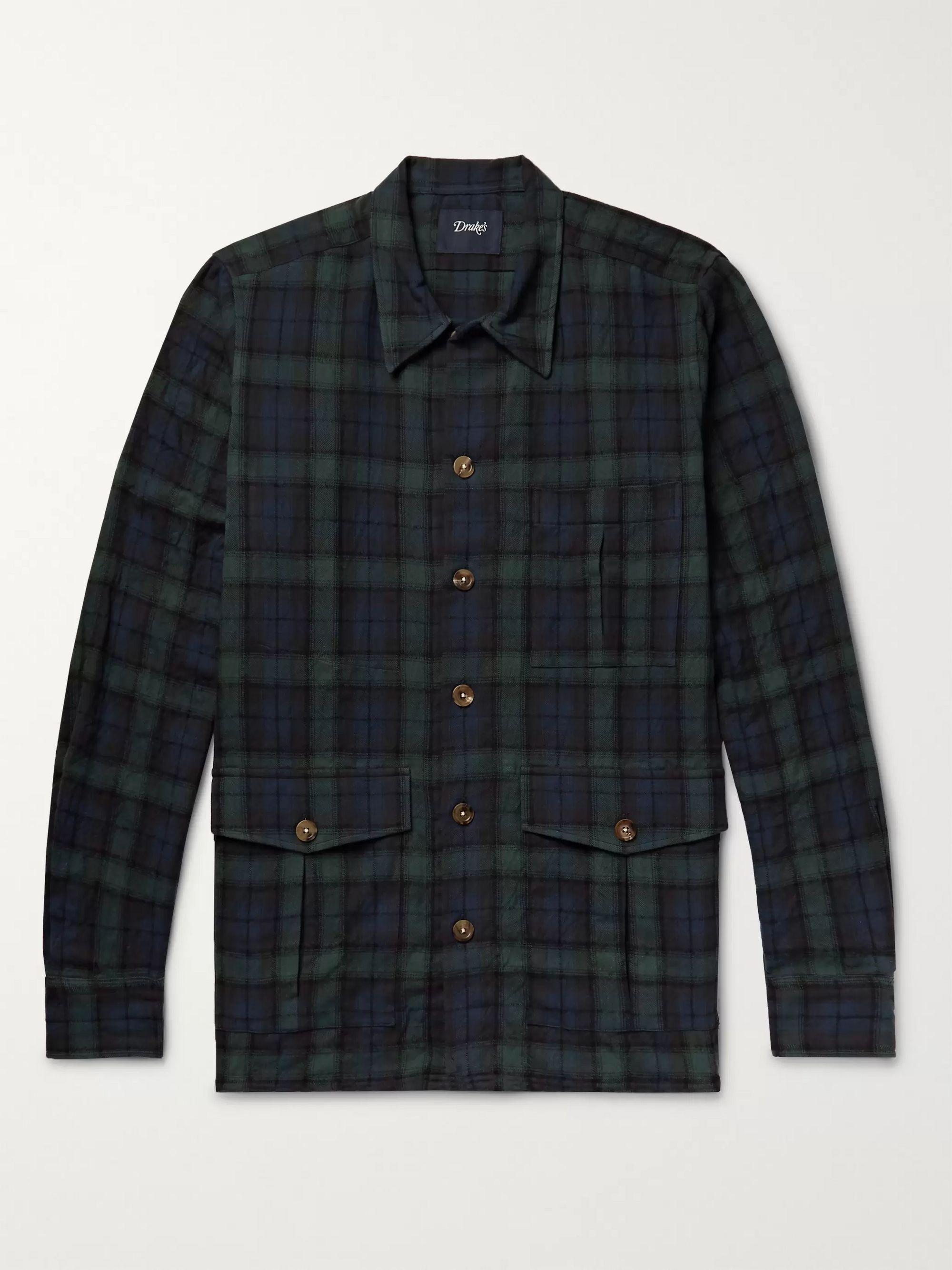 Blackwatch Checked Cotton And Wool Blend Flannel Overshirt by Drake's