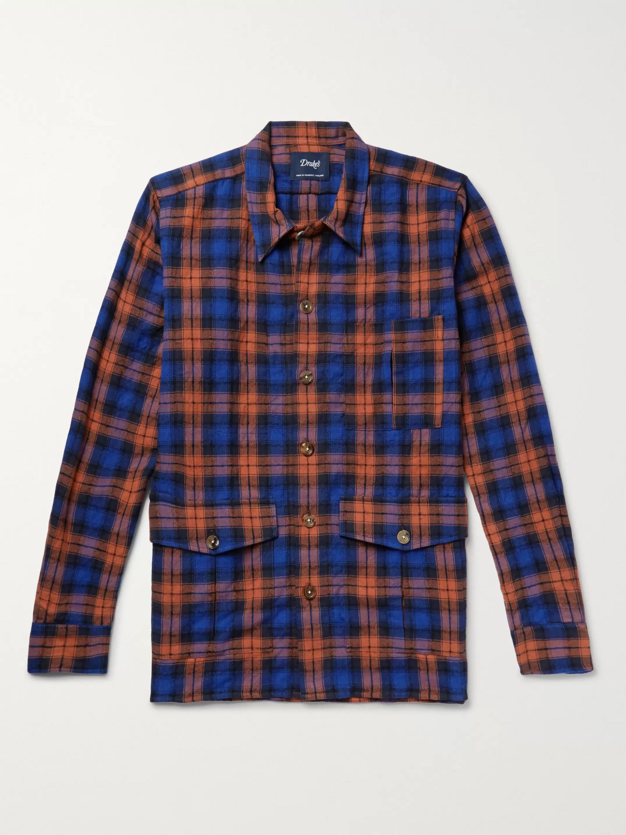 Drake's Blackwatch Checked Cotton and Wool-Blend Flannel Overshirt