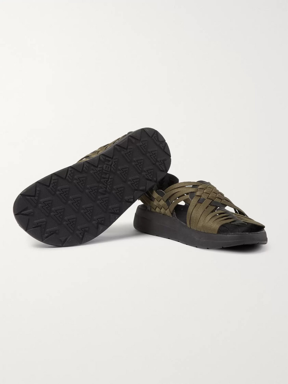 Malibu Canyon Woven Nylon-Webbing and Faux Leather Sandals