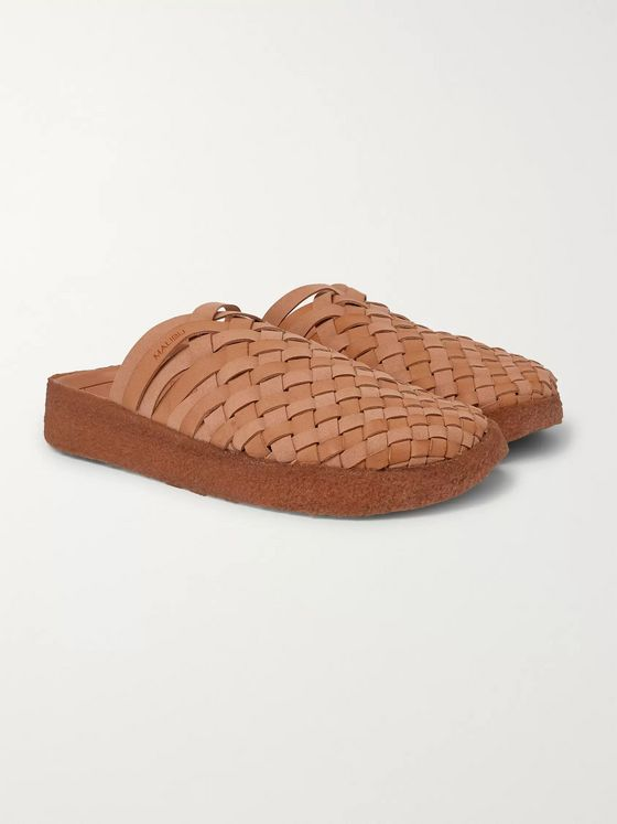 Malibu Colony Woven Faux Leather Sandals