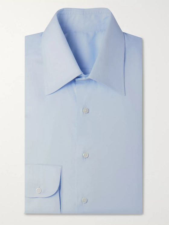 Husbands Light-Blue Slim-Fit Cotton Shirt