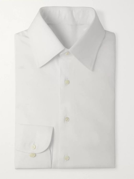 Husbands White Slim-Fit Cotton-Twill Shirt