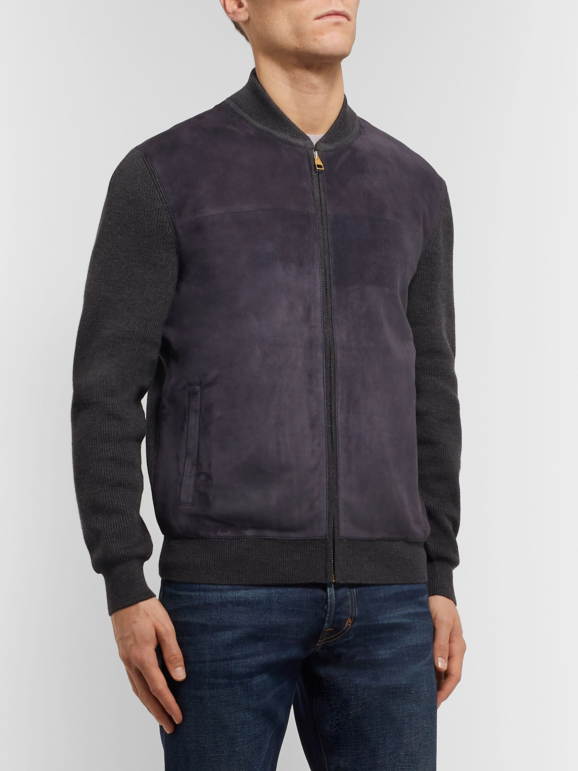 Dunhill Ribbed Wool and Suede Bomber Jacket