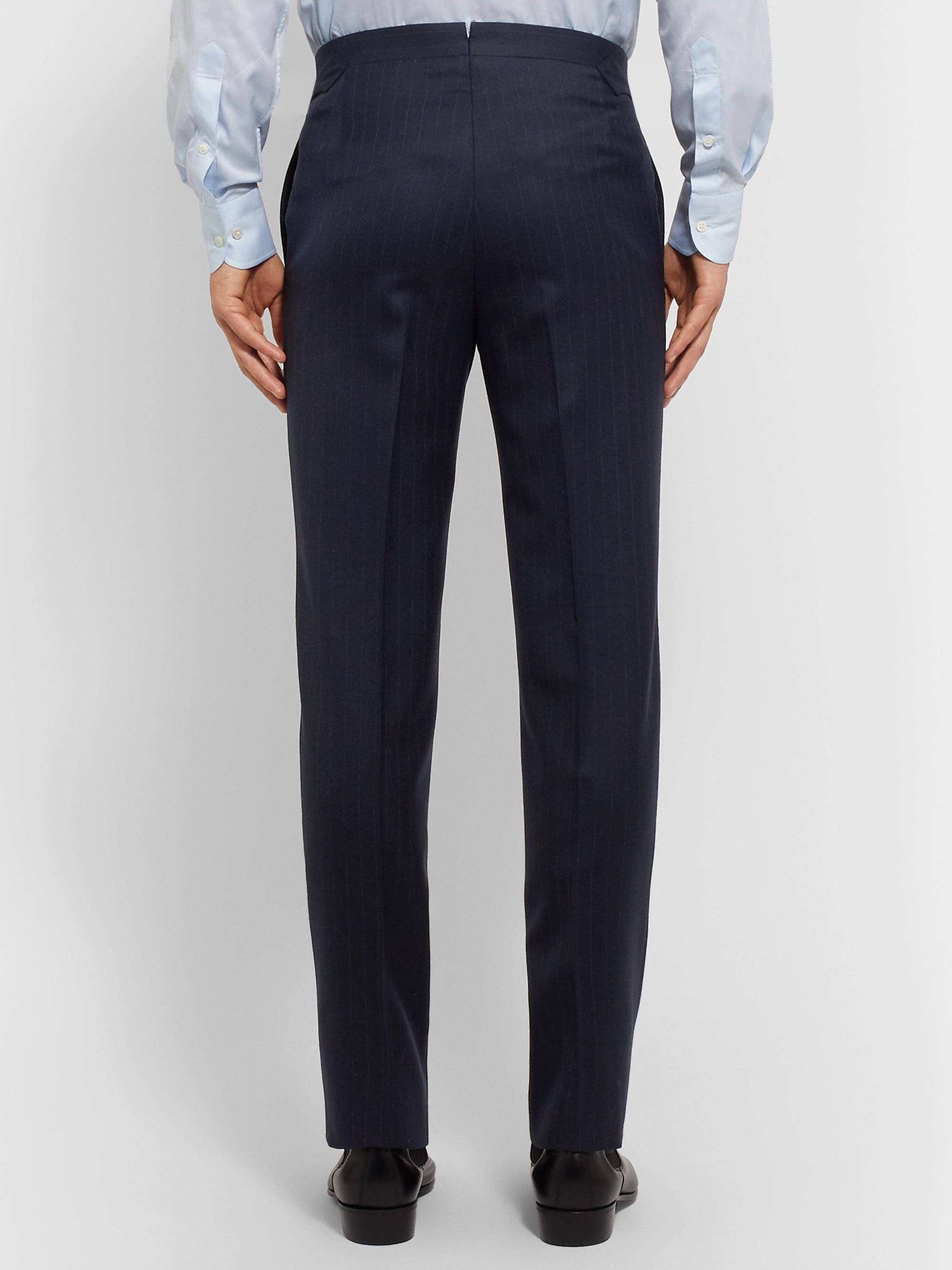 Husbands Navy Slim-Fit Double-Breasted Pinstriped Wool-Twill Suit