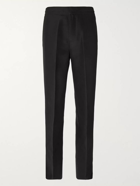Dunhill Black Wide-Leg Split-Hem Silk and Virgin Wool-Blend Trousers