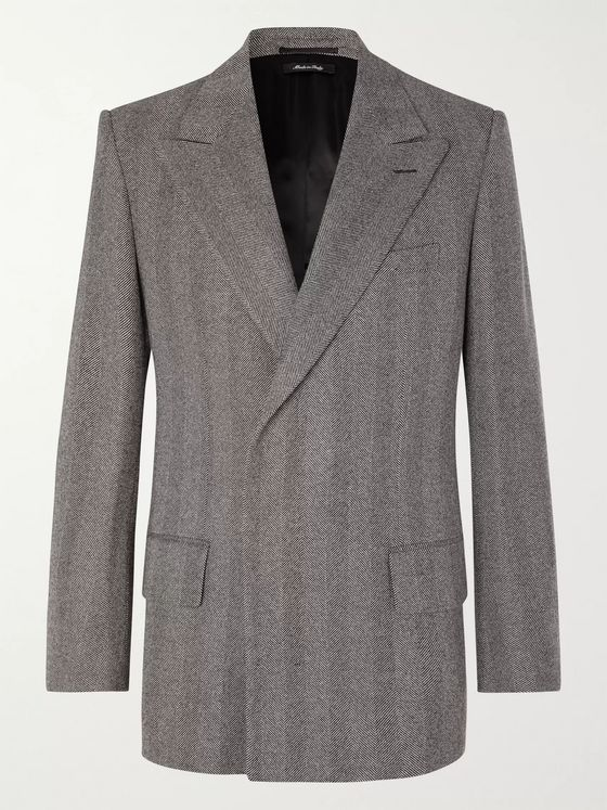 Dunhill Grey Double-Breasted Herringbone Wool Blazer