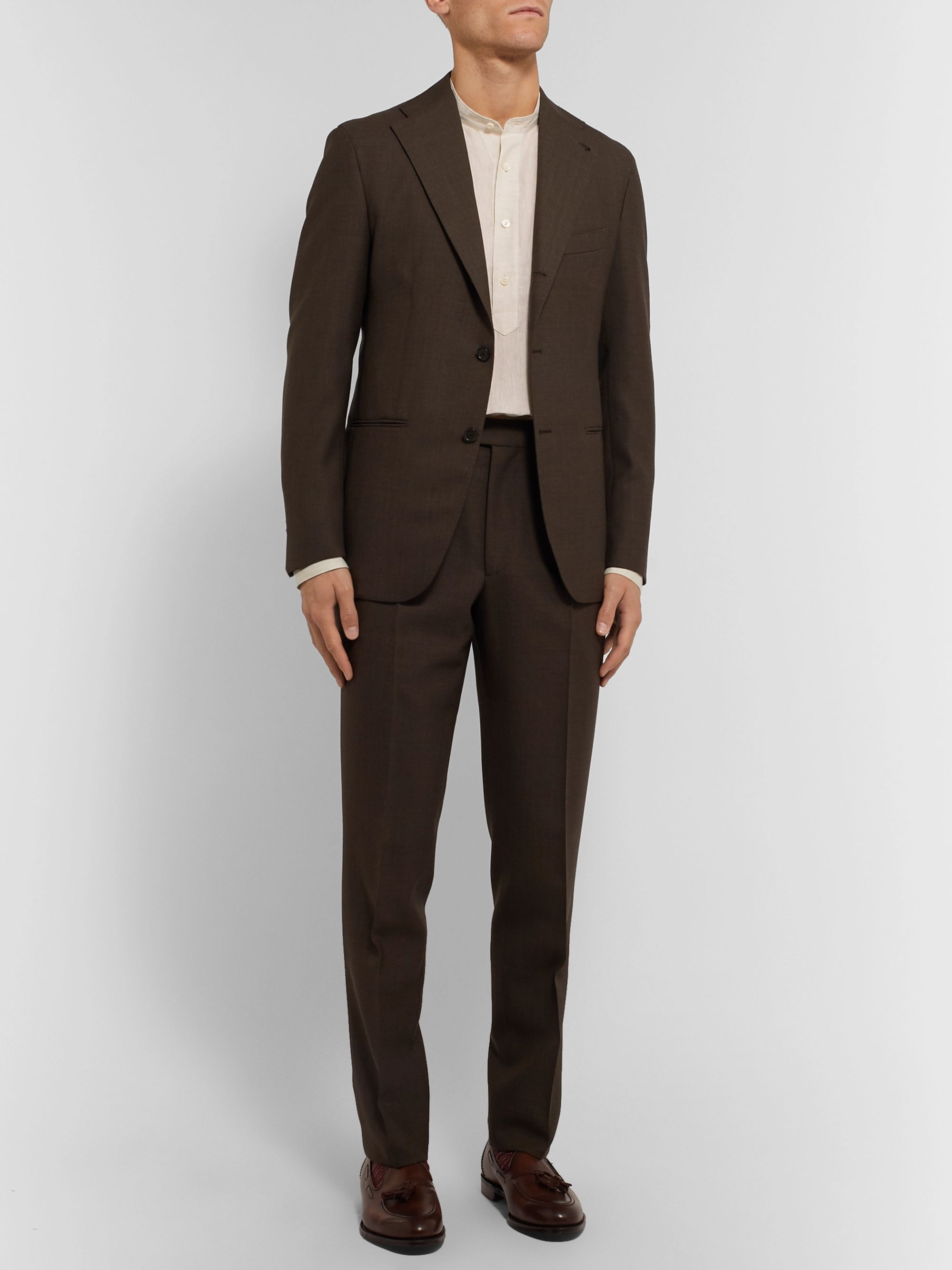 Frans Grandad Collar Linen Half Placket Shirt