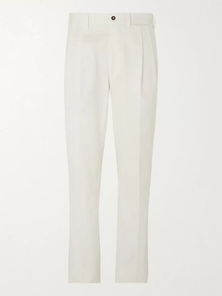 Berg & Berg Anton Pleated Cotton-Blend Trousers