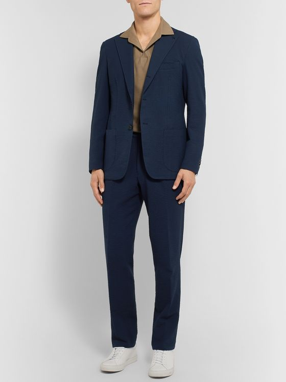 Berg & Berg Navy Arnold Slim-Fit Stretch-Cotton Blend Seersucker Suit Trousers