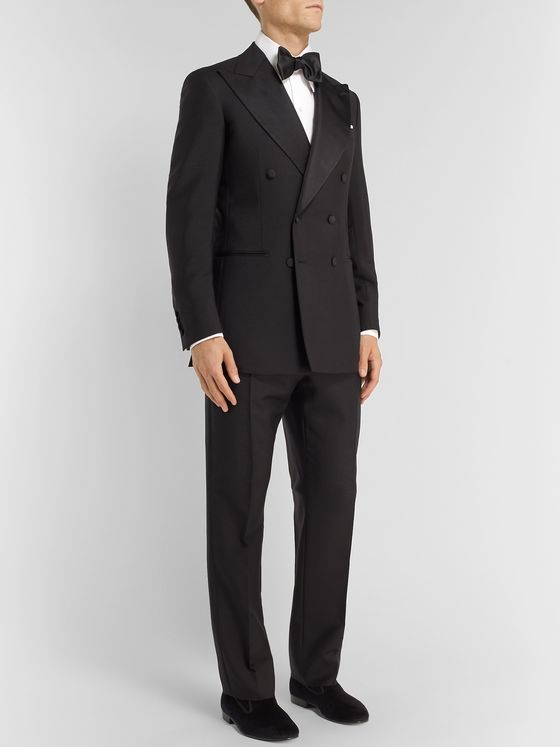 Maximilian Mogg Black Slim-Fit Double-Breasted Faille-Trimmed Mohair and Wool-Blend Tuxedo Jacket