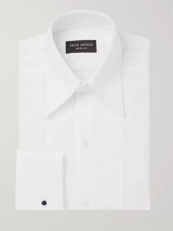 Maximilian Mogg White Slim-Fit Bib-Front Cotton Tuxedo Shirt
