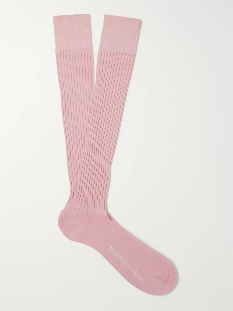 Maximilian Mogg Ribbed Cotton-Blend Over-the-Calf Socks