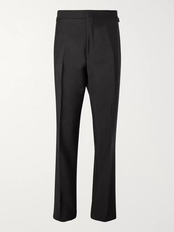 Maximilian Mogg Black Faille-Trimmed Mohair and Wool-Blend Tuxedo Trousers