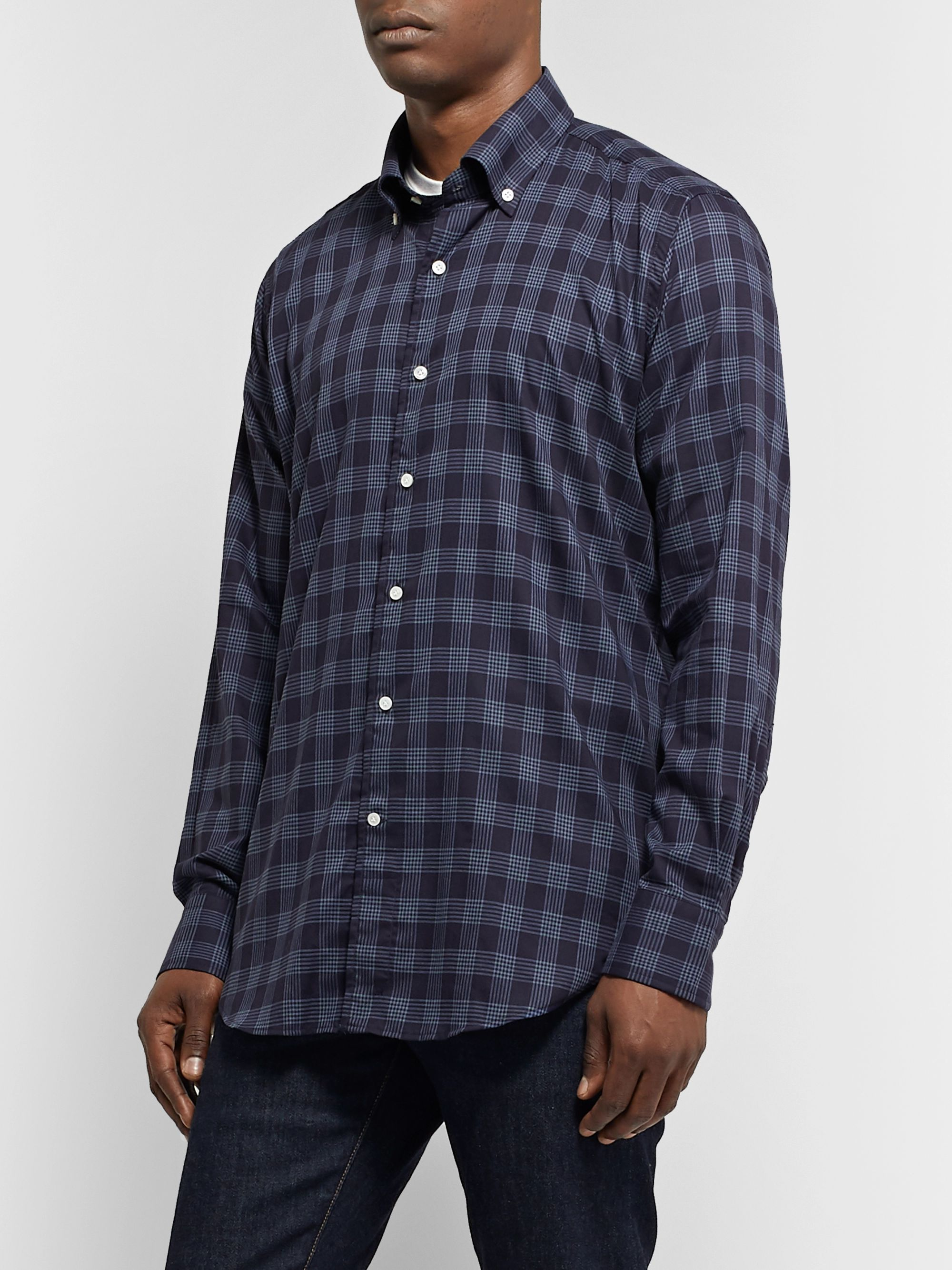 Peter Millar Reigns Button-Down Collar Checked Cotton Shirt
