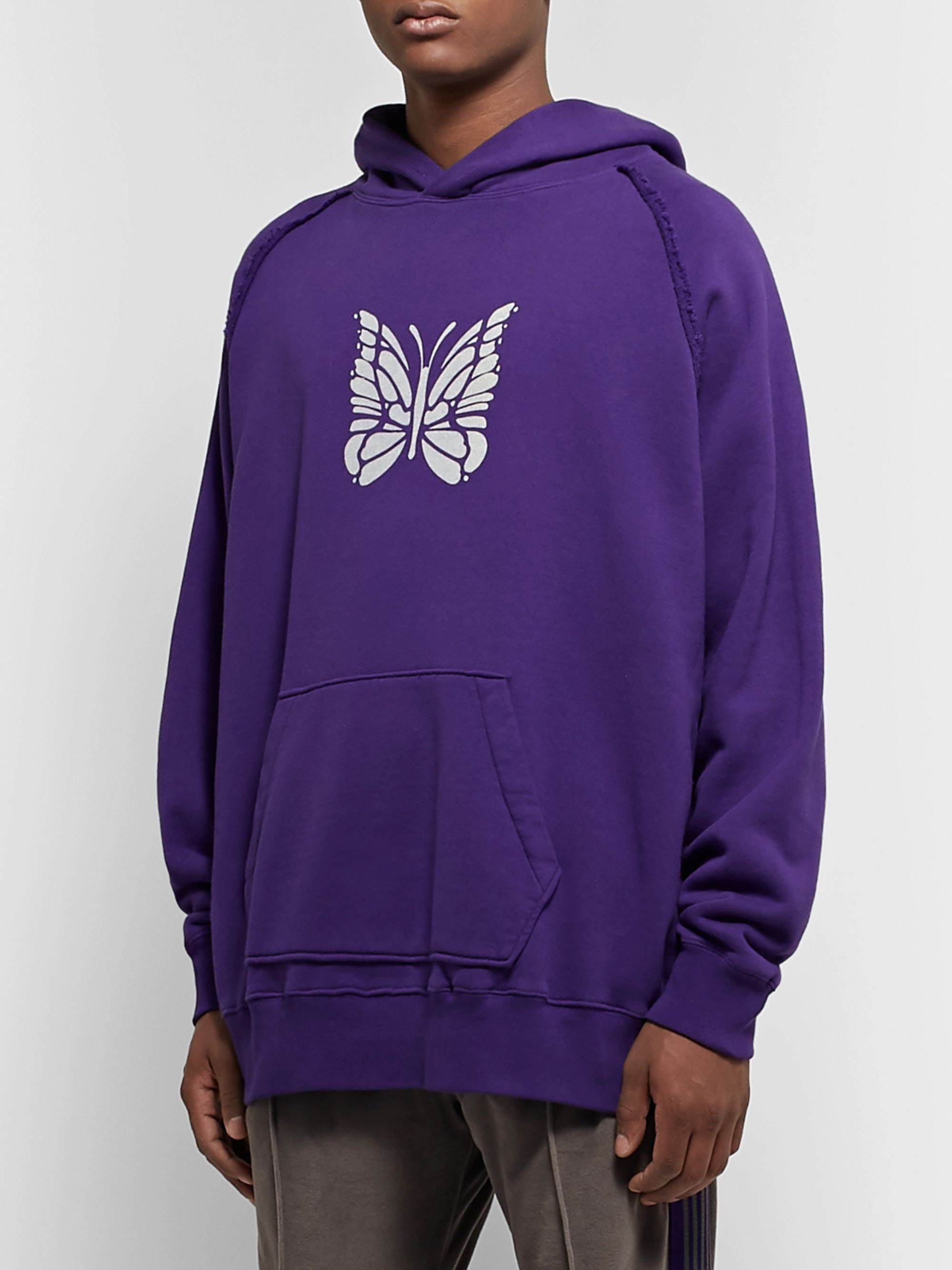 Needles Oversized Logo-Print Loopback Cotton-Jersey Hoodie