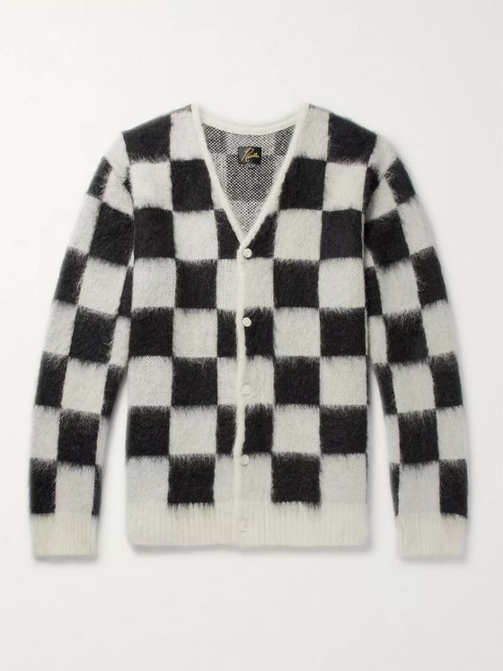 Needles Checkerboard Mohair-Blend Cardigan
