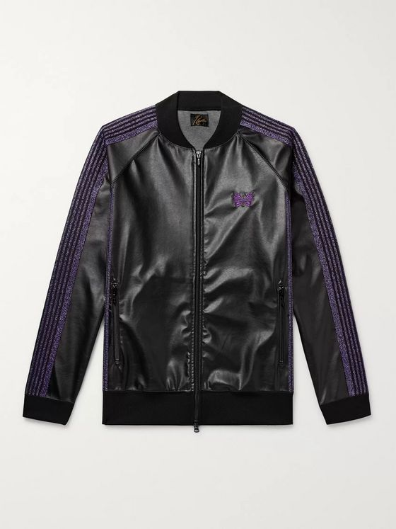 Needles Logo-Embroidered Webbing-Trimmed Faux Leather Track Jacket