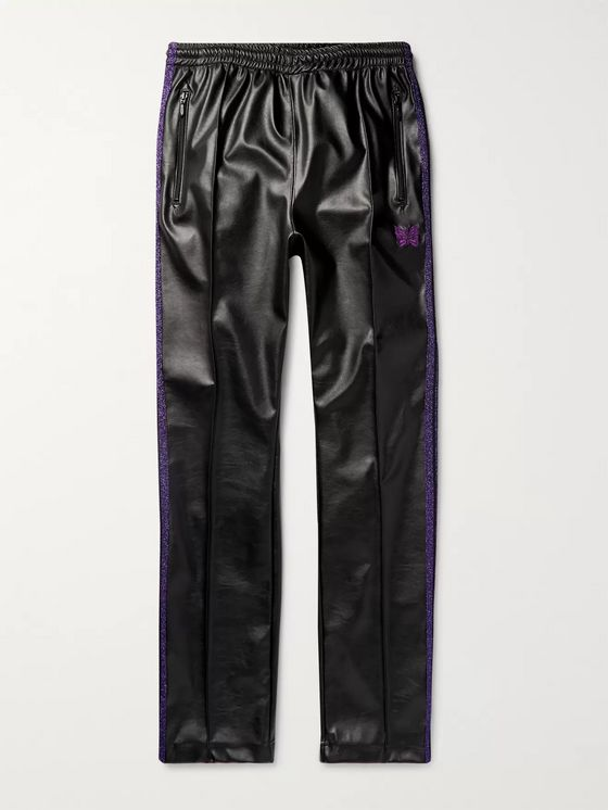 Needles Logo-Embroidered Webbing-Trimmed Faux Leather Track Pants
