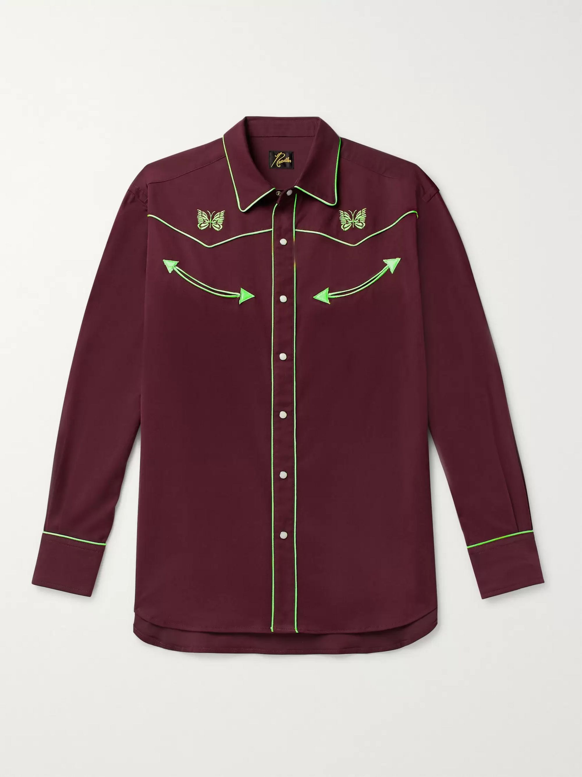 Needles Logo-Embroidered Piped Twill Shirt