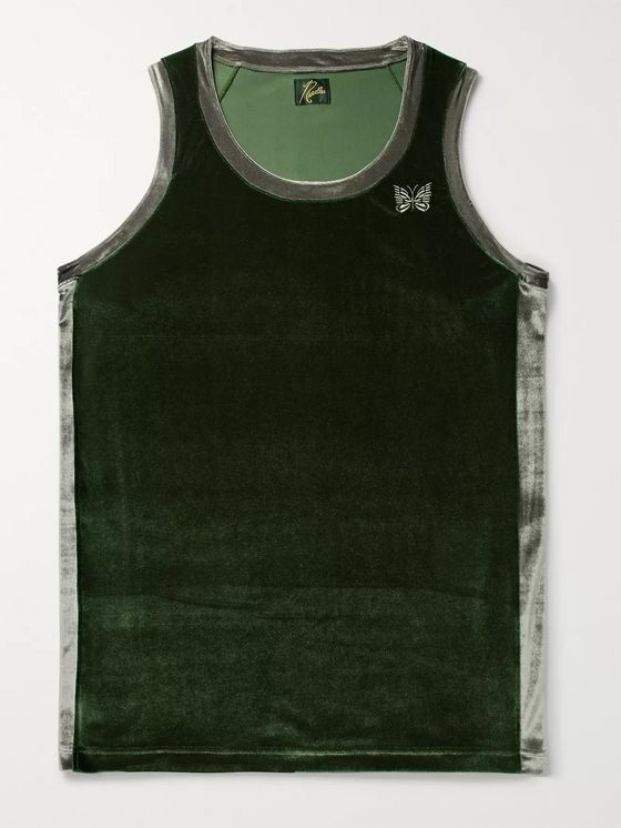 Needles Logo-Embroidered Two-Tone Velour Tank Top