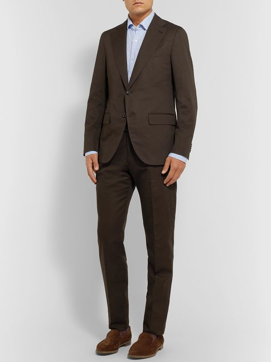Caruso Dark-Brown Cotton, Linen and Silk-Blend Suit Trousers
