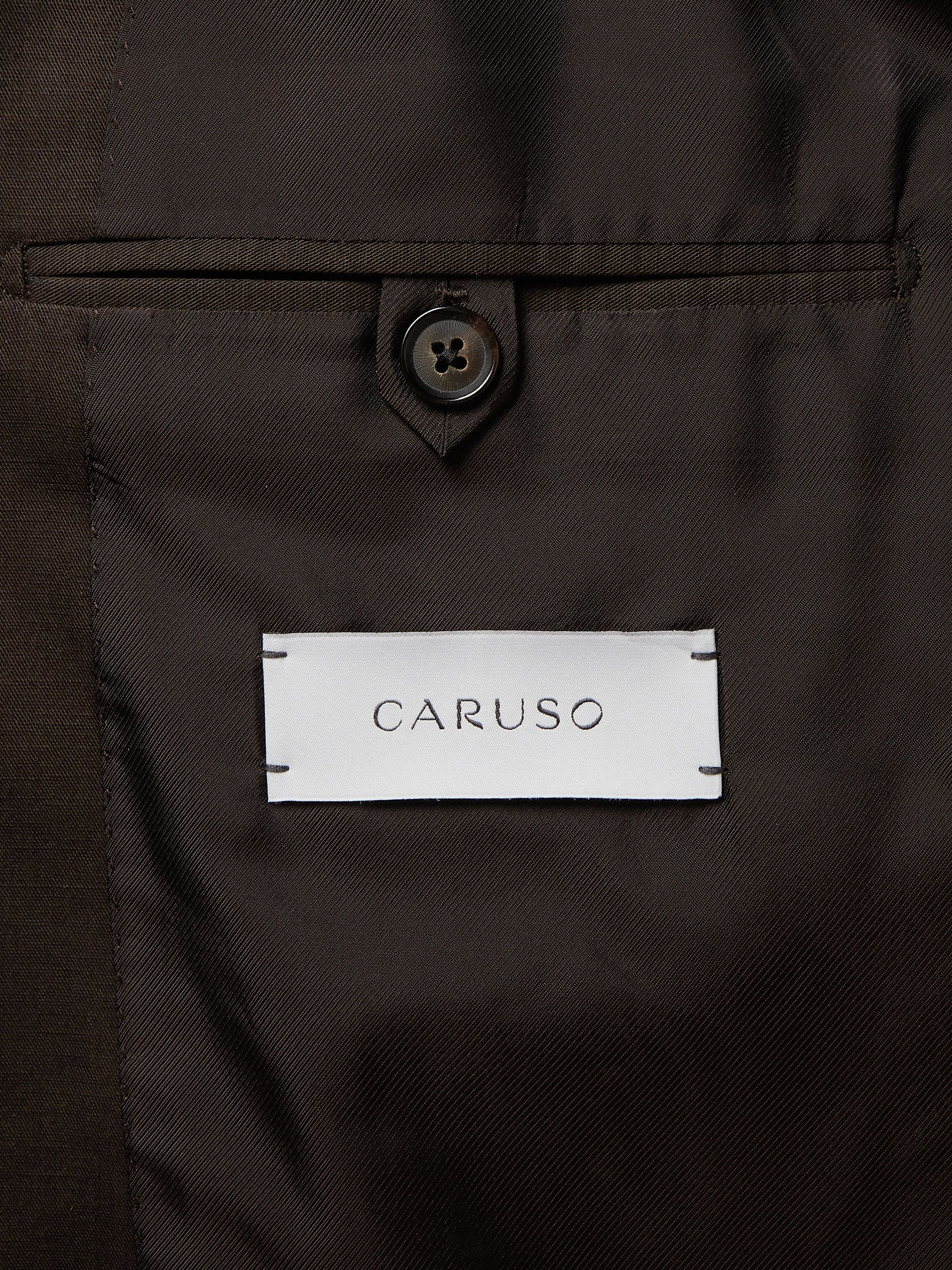 Caruso Dark-Brown Slim-Fit Cotton, Linen and Silk-Blend Suit Jacket