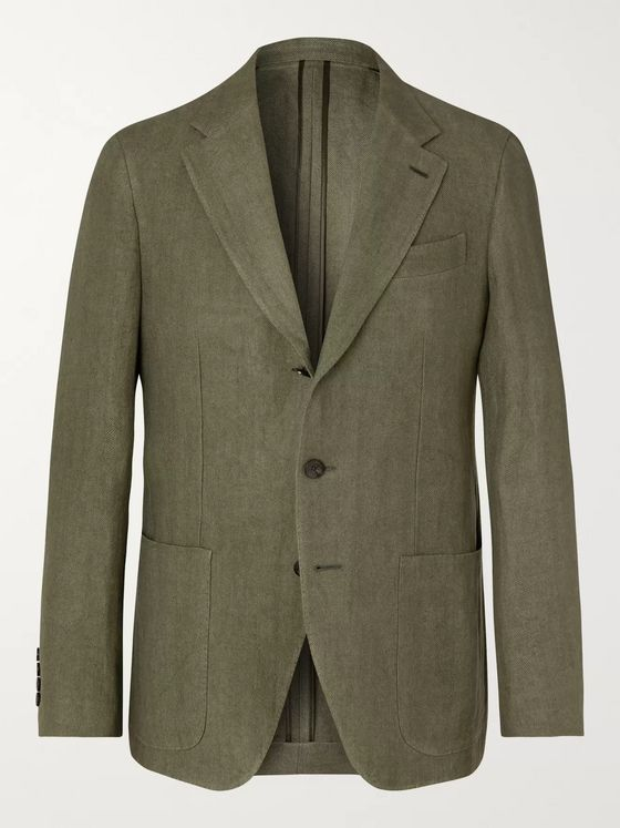 Caruso Olive Butterfly Unstructured Linen Blazer