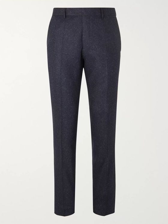 Hugo Boss Navy Slim-Fit Tapered Virgin Wool-Blend Tweed Trousers
