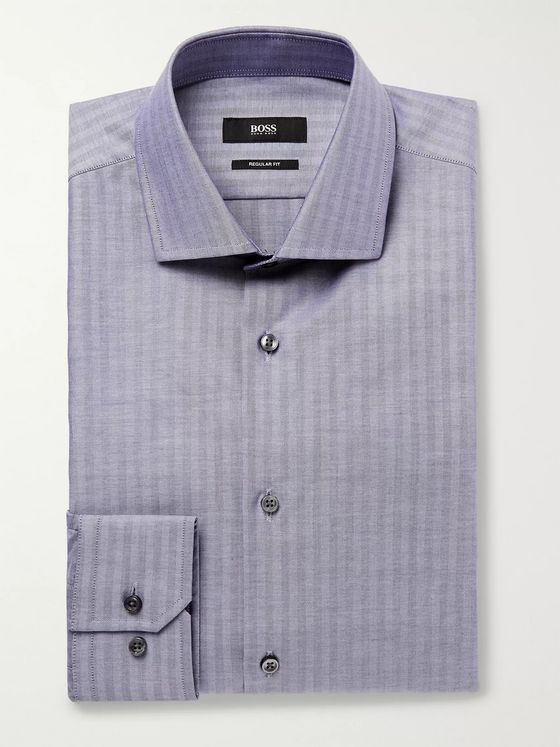 Hugo Boss Blue Slim-Fit Herringbone Cotton Oxford Shirt