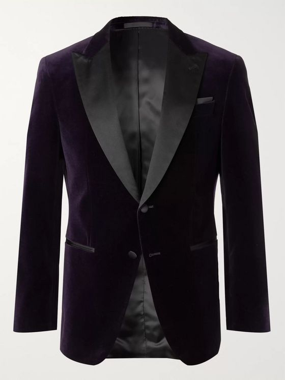 Hugo Boss Purple Helward Slim-Fit Satin-Trimmed Cotton-Velvet Tuxedo Jacket