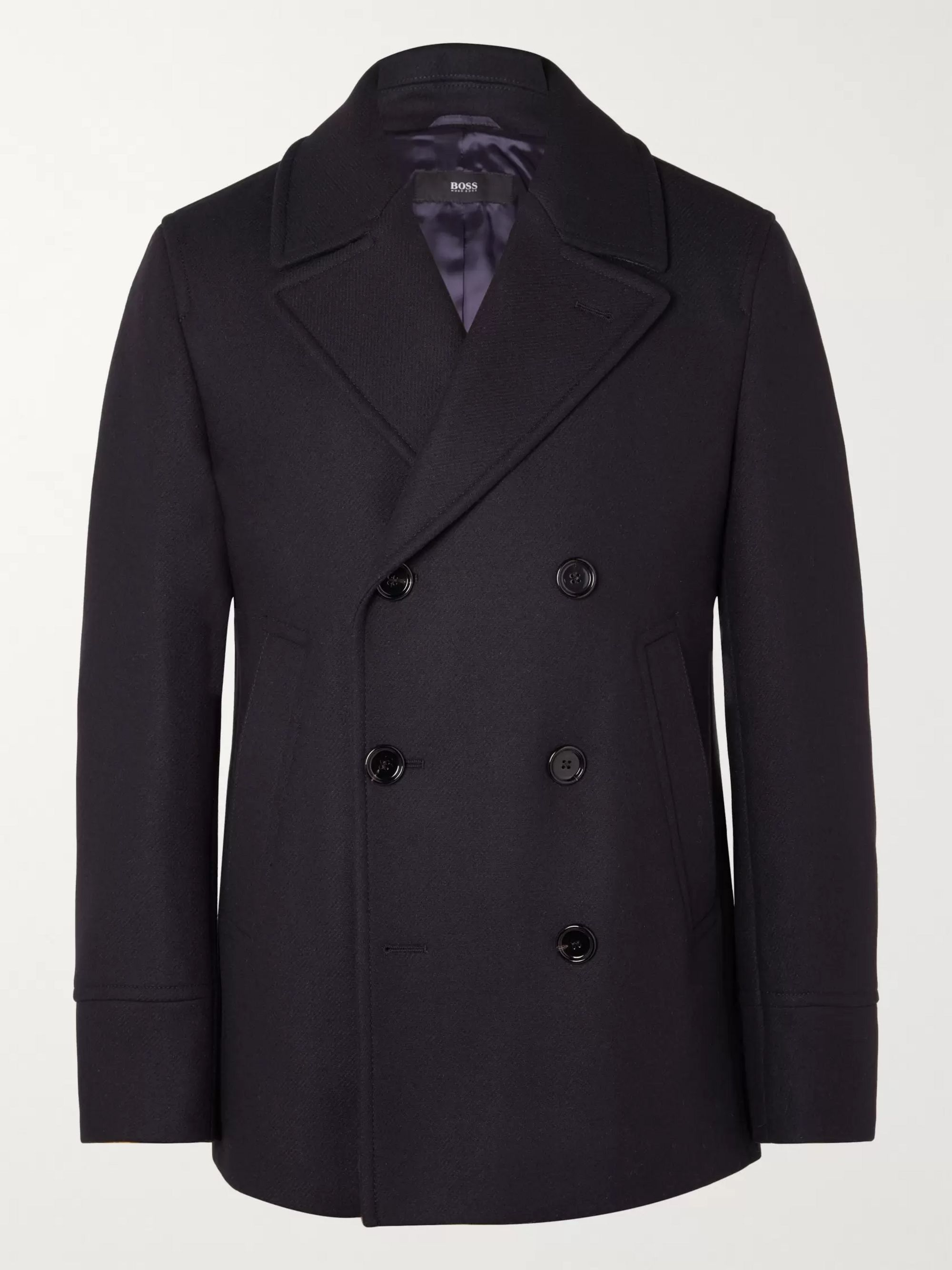 Hugo Boss Dunes Virgin Wool-Blend Felt Peacoat