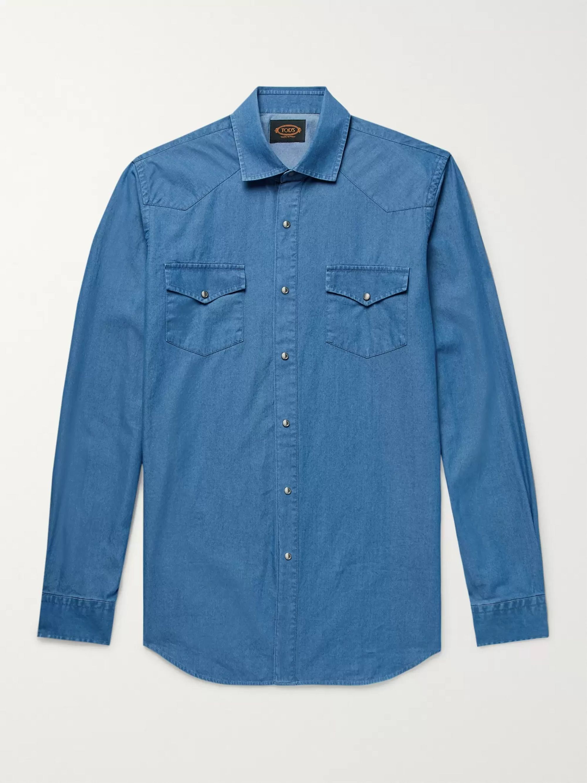 Tod's Slim-Fit Garment-Dyed Cotton-Chambray Shirt